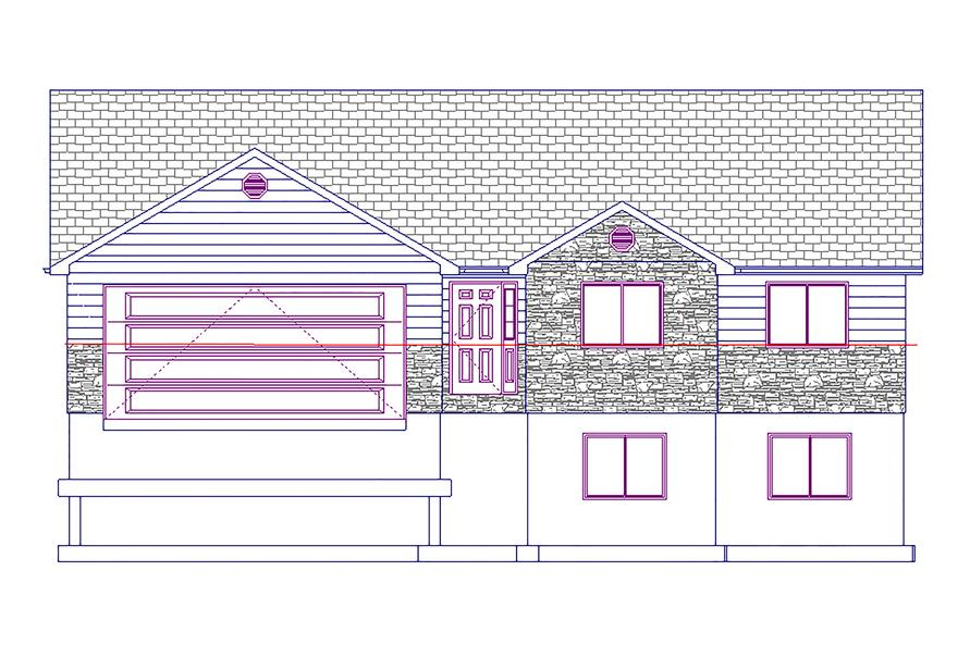 187-1023: Home Plan Front Elevation