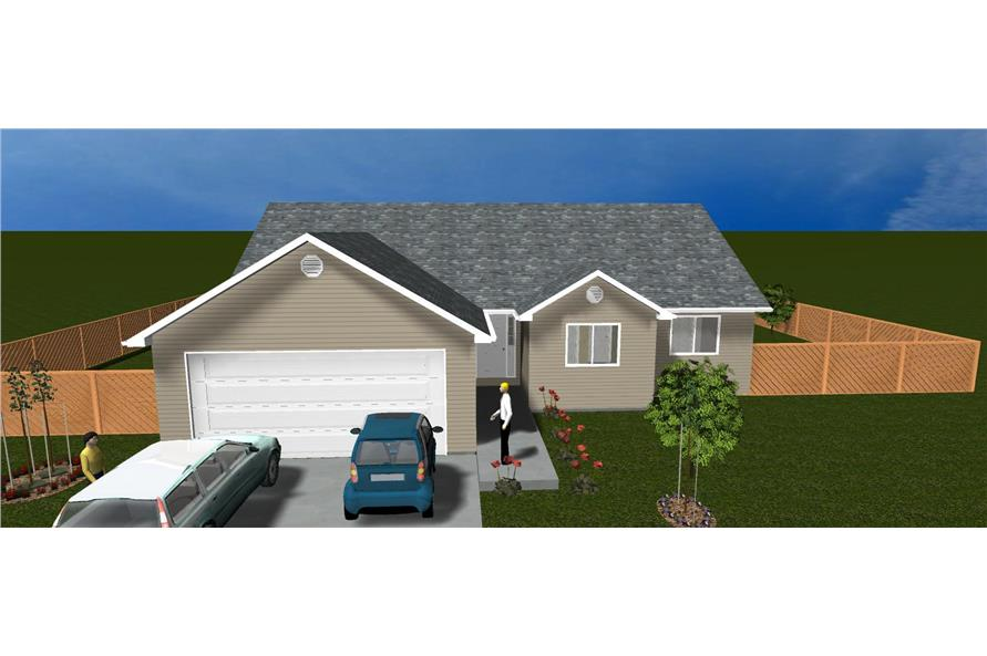 The Plan Collection: Front Elevation of Traditional House # 187-1023