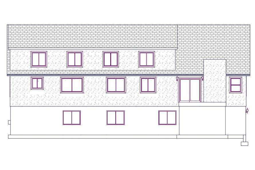 187-1025: Home Plan Rear Elevation