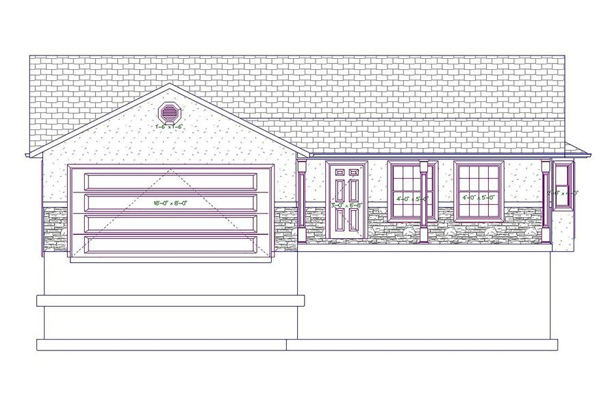 187-1026: Home Plan Front Elevation