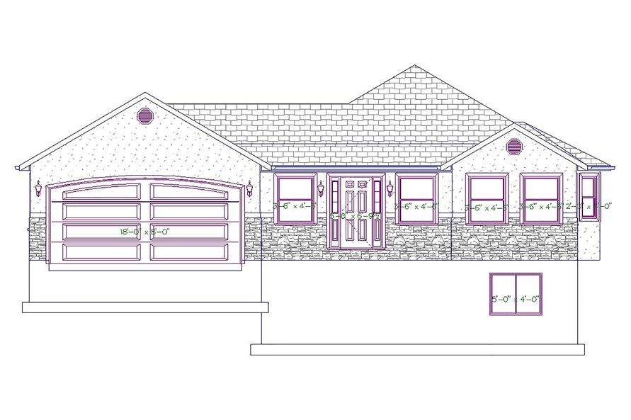 187-1027: Home Plan Front Elevation
