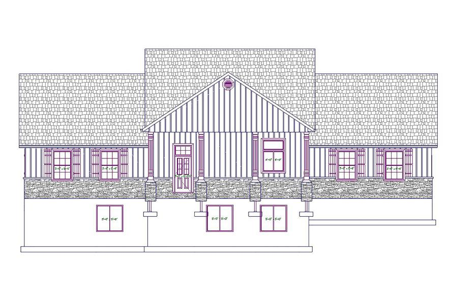 187-1028: Home Plan Rear Elevation