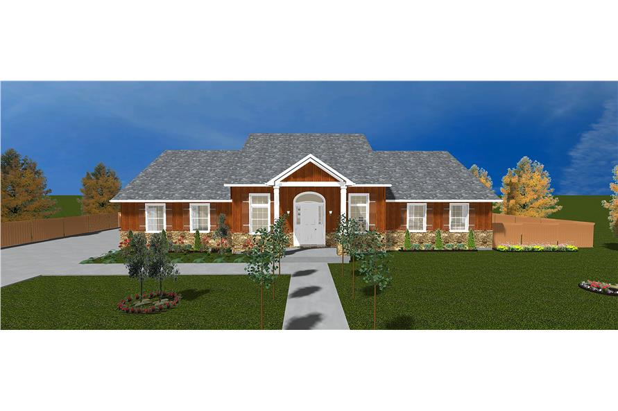 The Plan Collection: Front Elevation of Traditional House # 187-1028