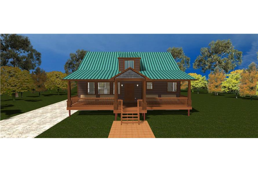 The Plan Collection: Front Elevation of Craftsman Cabin Style House # 187-1029
