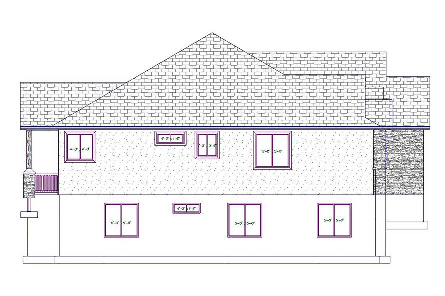 Home Plan Left Elevation of this 5-Bedroom,2050 Sq Ft Plan -187-1037