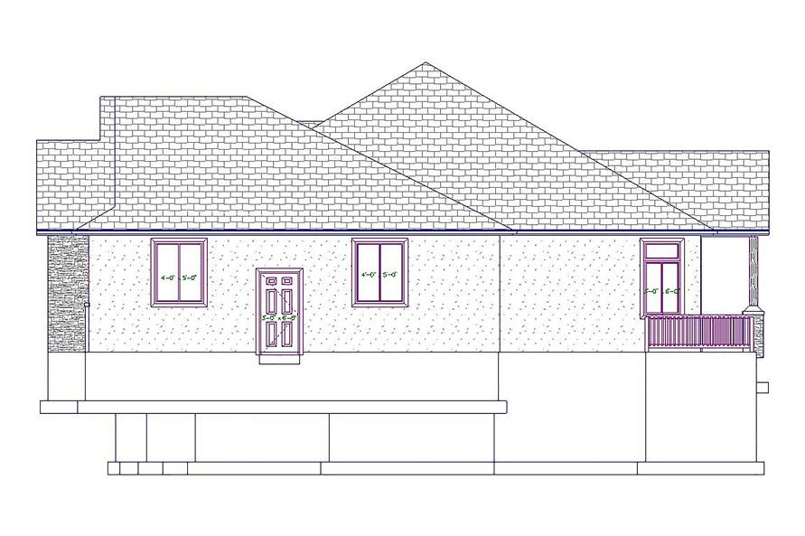 Home Plan Right Elevation of this 5-Bedroom,2050 Sq Ft Plan -187-1037
