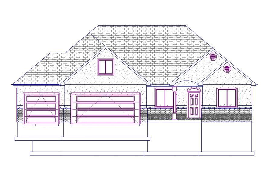 187-1045: Home Plan Front Elevation
