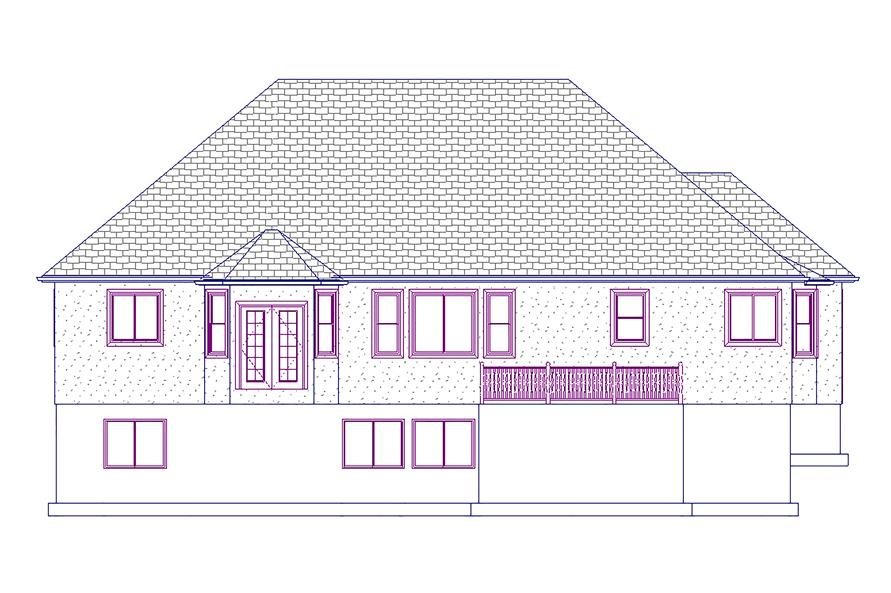187-1045: Home Plan Rear Elevation
