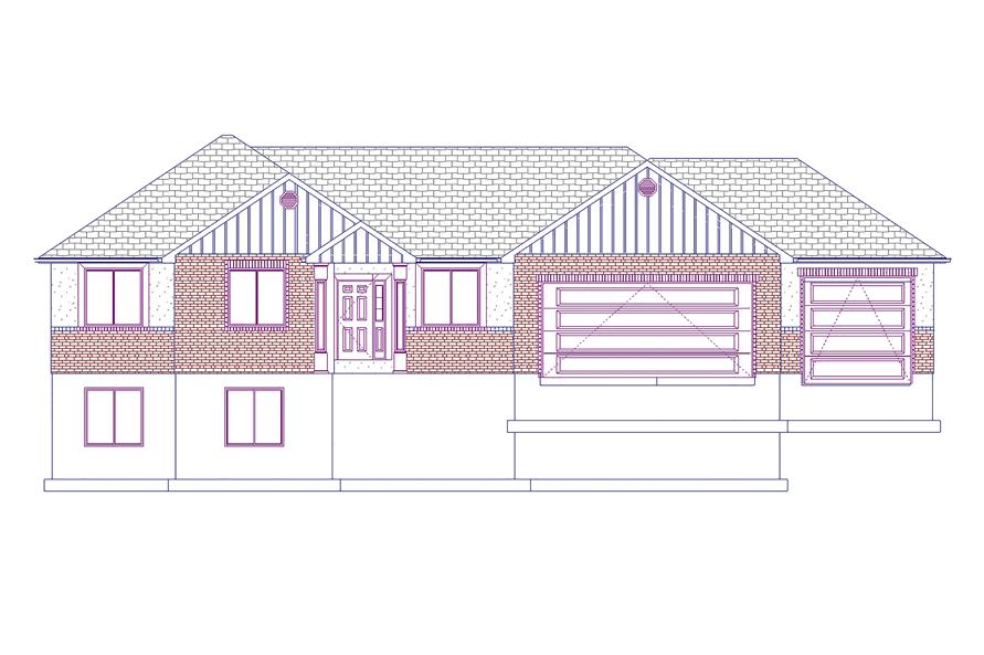 187-1048: Home Plan Front Elevation
