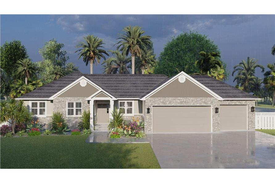 Front View of this 3-Bedroom,1555 Sq Ft Plan -187-1048