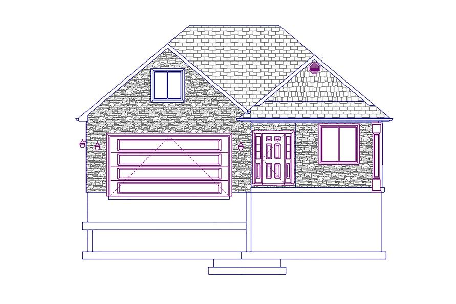 Home Plan Front Elevation of this 5-Bedroom,1875 Sq Ft Plan -187-1055