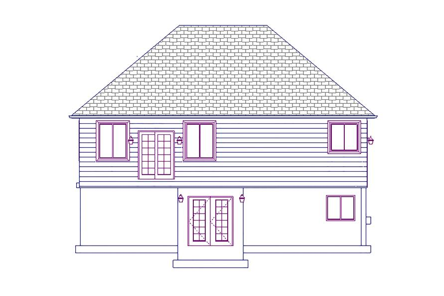 187-1055: Home Plan Rear Elevation