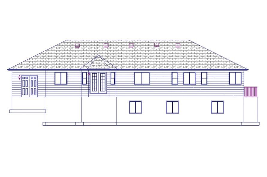 187-1063: Home Plan Rear Elevation