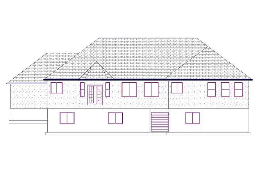 Home Plan Rear Elevation of this 5-Bedroom,2199 Sq Ft Plan -187-1075