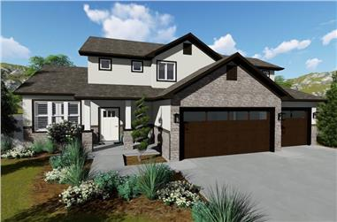 5-Bedroom, 2176 Sq Ft Contemporary House Plan - 187-1134 - Front Exterior