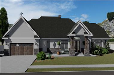3-Bedroom, 2796 Sq Ft Craftsman Home Plan - 187-1136 - Main Exterior