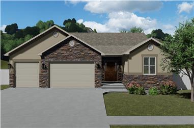 5-Bedroom, 1849 Sq Ft Rustic House Plan - 187-1138 - Front Exterior