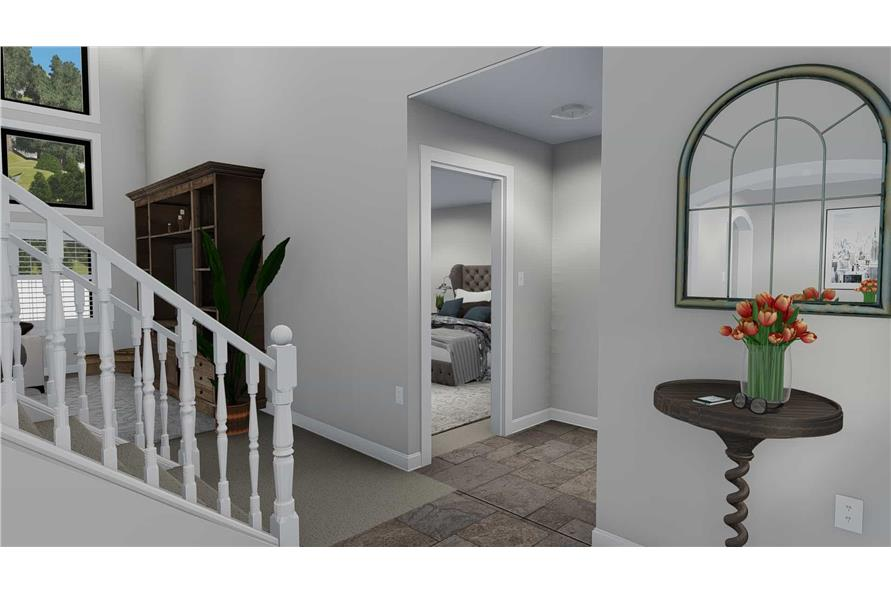 187-1139: Home Plan Rendering-Entry Hall: Staircase