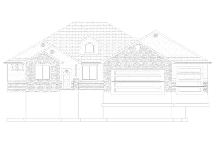 Home Plan Front Elevation of this 5-Bedroom,2050 Sq Ft Plan -187-1141