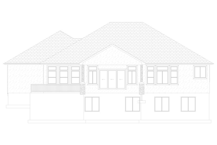 Home Plan Rear Elevation of this 5-Bedroom,2050 Sq Ft Plan -187-1141