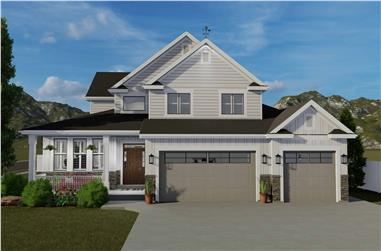 5-Bedroom, 2438 Sq Ft Craftsman House Plan - 187-1146 - Front Exterior