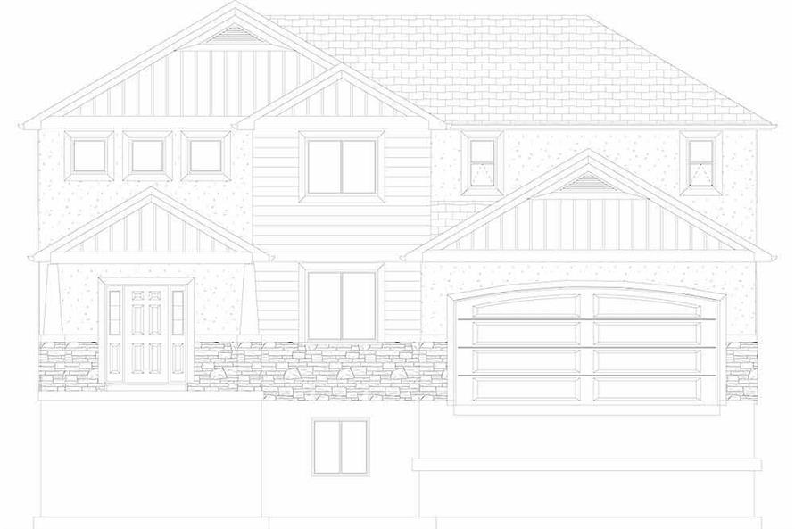 Home Plan Front Elevation of this 4-Bedroom,2473 Sq Ft Plan -187-1150