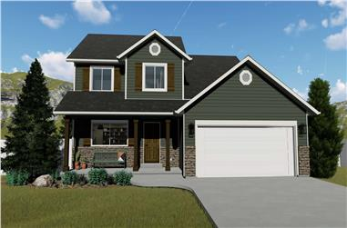 3-Bedroom, 1621 Sq Ft Craftsman Home Plan - 187-1158 - Main Exterior
