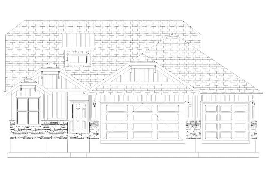 Home Plan Front Elevation of this 4-Bedroom,2710 Sq Ft Plan -187-1162