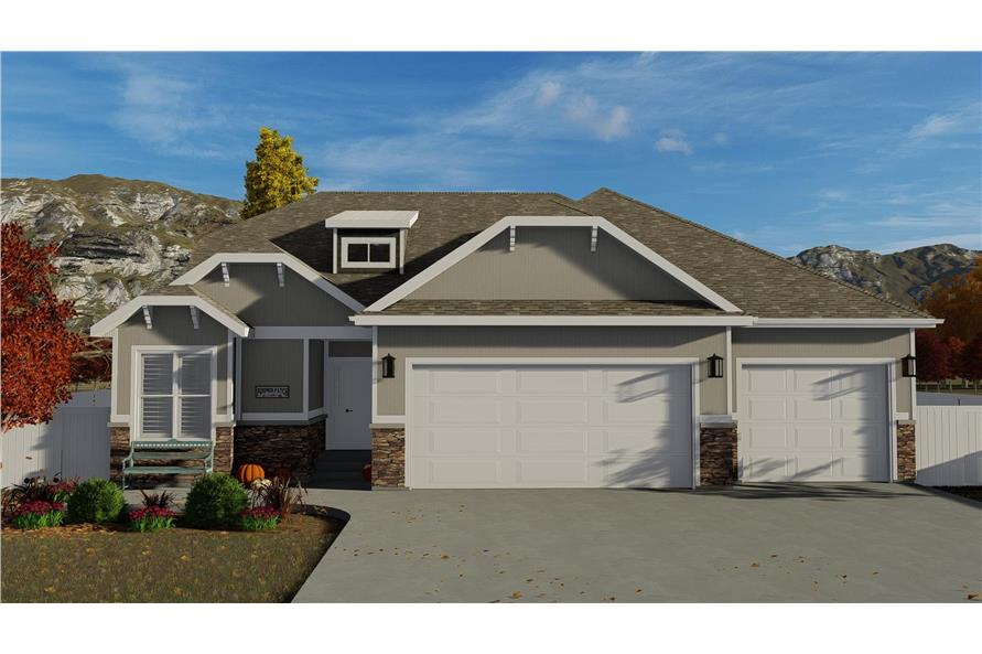4-Bedroom, 2710 Sq Ft Bungalow House - Plan #187-1162 - Front Exterior