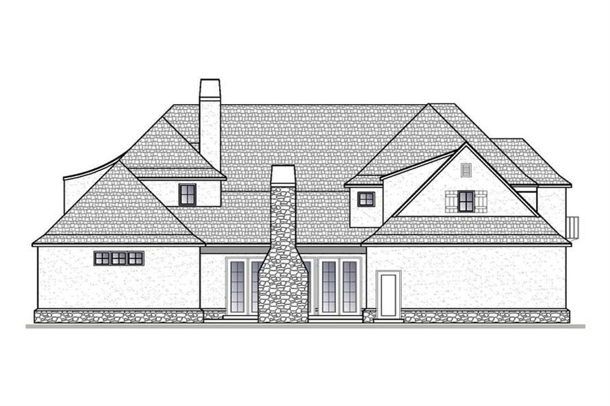 Home Plan Rear Elevation of this 4-Bedroom,4661 Sq Ft Plan -188-1004