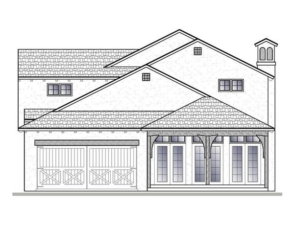 188-1005: Home Plan Rear Elevation