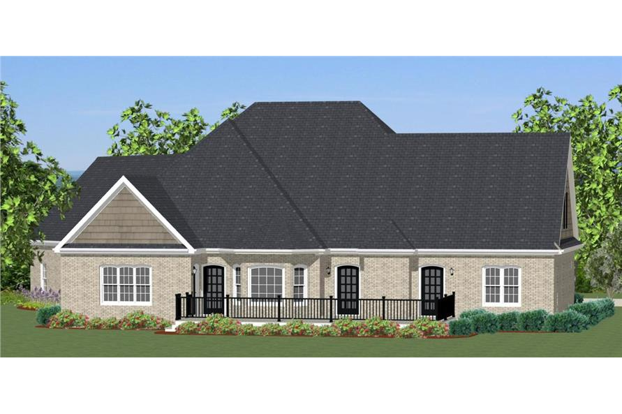 Home Plan Rear Elevation of this 3-Bedroom,2549 Sq Ft Plan -189-1000