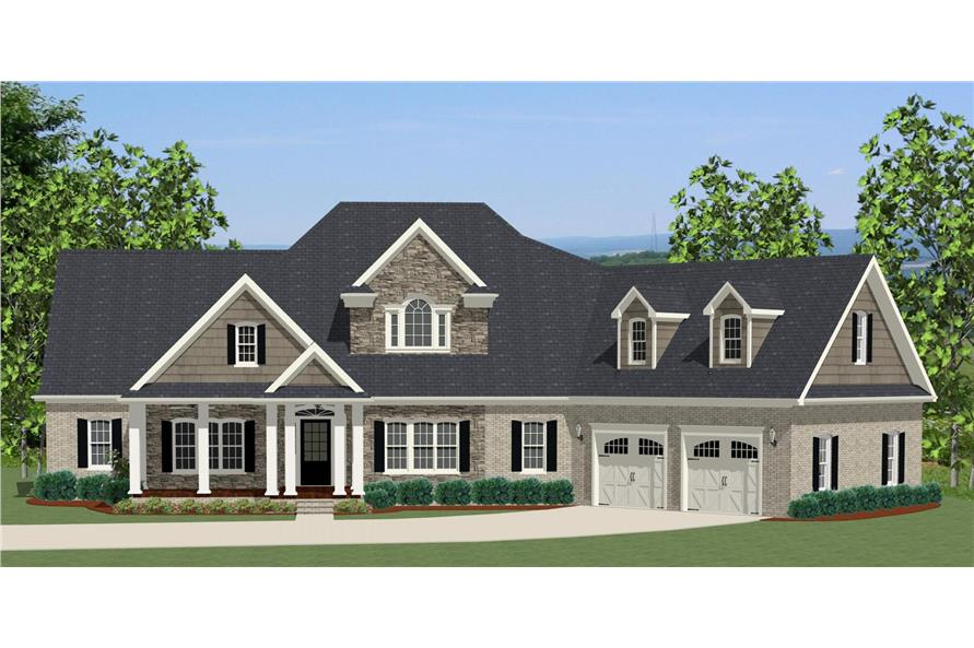 3-Bedroom, 2549 Sq Ft Colonial Home Plan - 189-1000 - Main Exterior