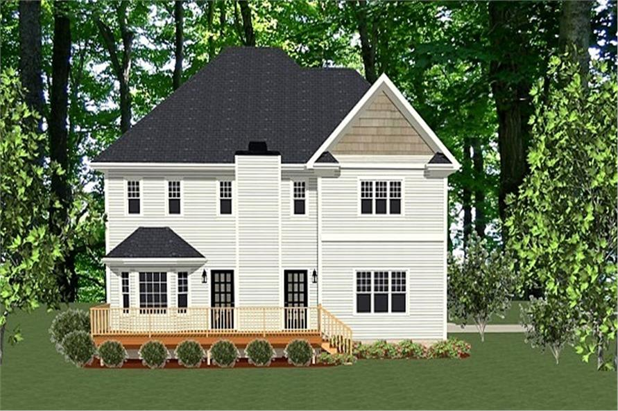 189-1002: Home Plan Rear Elevation