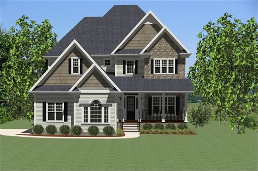 The Plan Collection: Front Elevation of Craftsman House # 189-1002