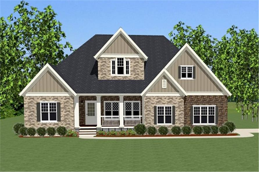 The Plan Collection: Front Elevation of Craftsman House # 189-1004