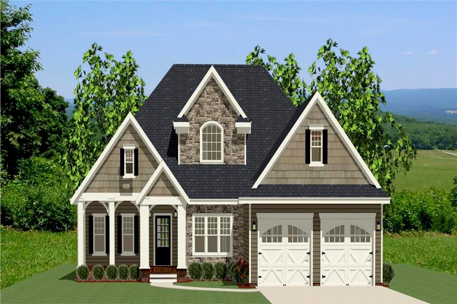 The Plan Collection: Front Elevation of Craftsman House # 189-1005