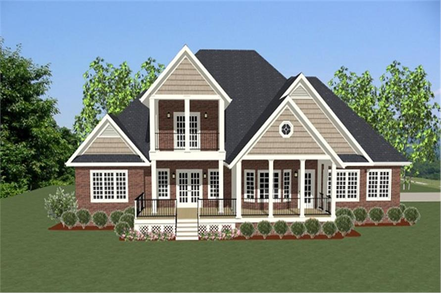 189-1006: Home Plan Rear Elevation