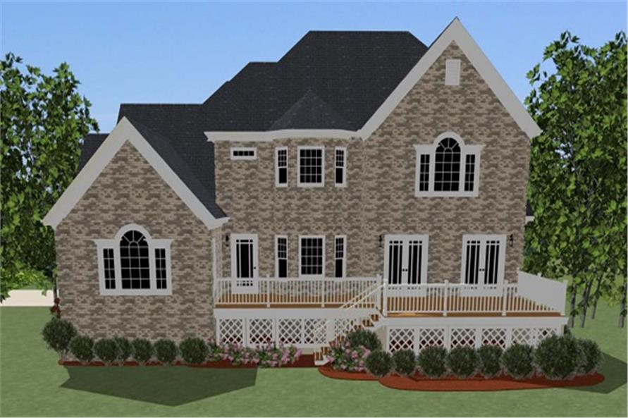 189-1007: Home Plan Rear Elevation