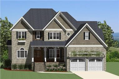 4-Bedroom, 2755 Sq Ft Traditional House Plan - 189-1007 - Front Exterior
