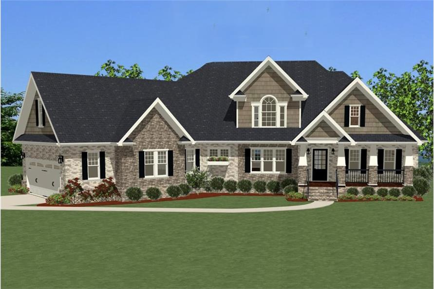 4-Bedroom, 2900 Sq Ft Craftsman House Plan - 189-1008 - Front Exterior