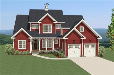 4-Bedroom, 3185 Sq Ft Country House Plan - 189-1010 - Front Exterior