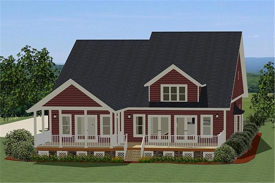 189-1011: Home Plan Rear Elevation