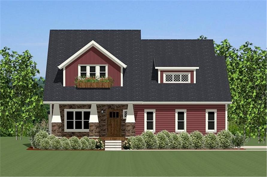 The Plan Collection: Front Elevation of Farmhouse House # 189-1011