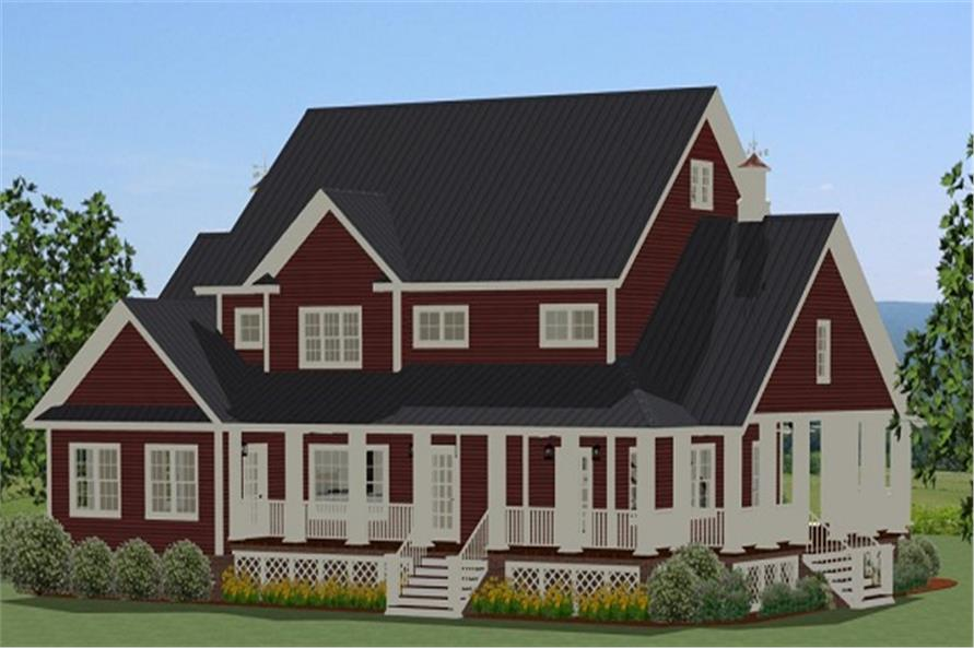 Home Plan Rear Elevation of this 3-Bedroom,2971 Sq Ft Plan -189-1012