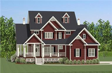 The Plan Collection: Front Elevation of Farmhouse House # 189-1012