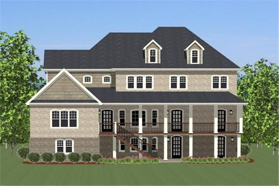 Home Plan Rear Elevation of this 5-Bedroom,3263 Sq Ft Plan -189-1013