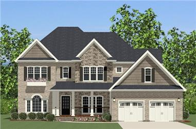 The Plan Collection: Front Elevation of Colonial House # 189-1013