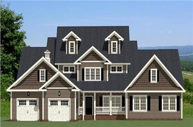 The Plan Collection: Front Elevation of Farmhouse House # 189-1014