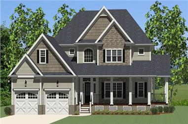 3-Bedroom, 2720 Sq Ft Country House Plan - 189-1015 - Front Exterior